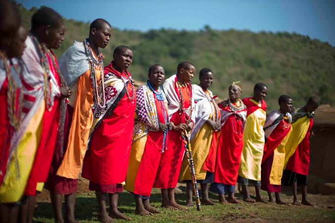 A get-together of Maasai people